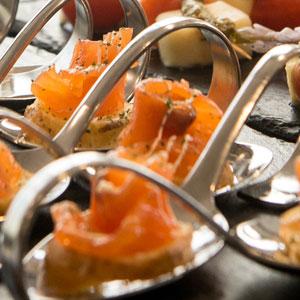 salmon canapes tray